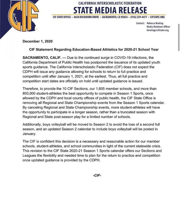 CIF released an official statement saying that practices are postponed until further notice.