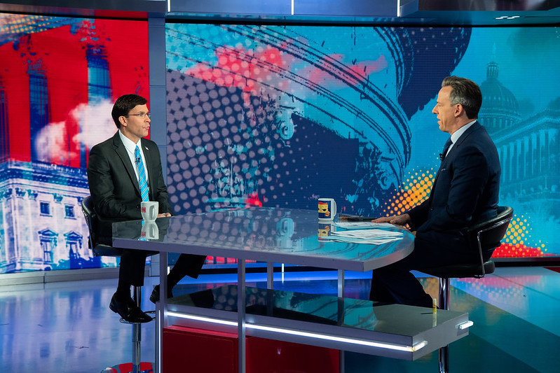 Defense Secretary Mark T. Esper speaks with CNN's Jake Tapper during a live interview on CNN in Washington D.C, Jan. 12, 2020.
