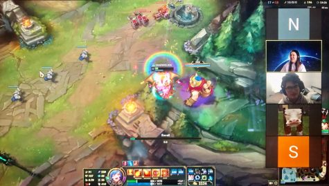 Members of the new Team E-sports Department Club are split into two teams to play a round of League of Legends on Jan. 28. Club advisor Lori Seo