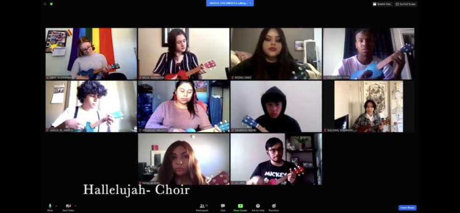 """The choir class perform  """"Hallelujah"""" during World Music Day on March 24."""