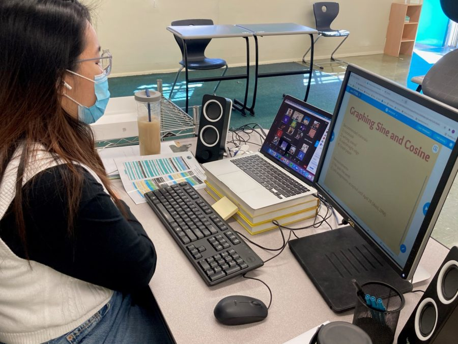 "Math teacher Lori Seo teaches her online Zoom class during the first day of in-person learning on April 27.  ""It felt so...so weird. It's as if I went into a dream, like a time lapse. I'm really grateful. The sense of time that has passed is really hitting me,"