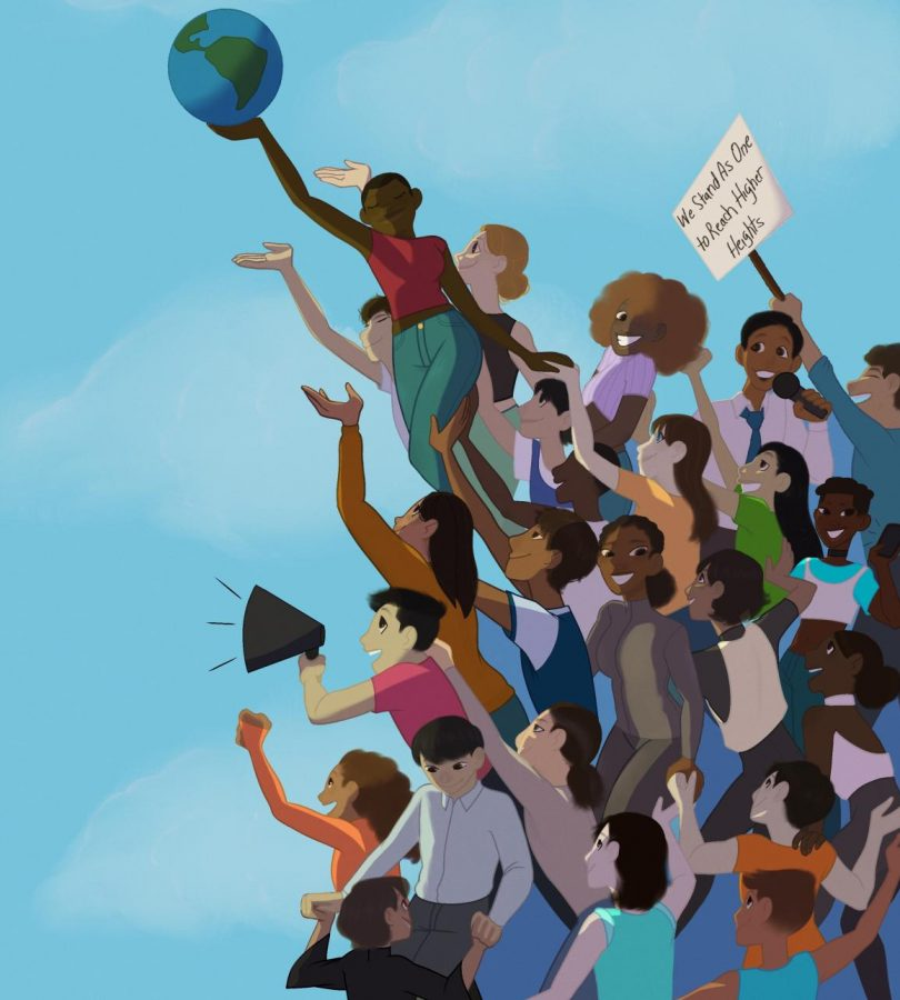 Holding Up A Future is a piece junior Gabrielle Lashley created to represent what a better future might look, like as part of a collaboration with DreamWorks.