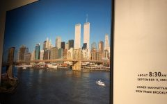 A photo of the World Trade Centers Twin Towers are displayed in the 9/11 Memorial and Museum in New York City.